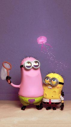 Minion Spongebob and Patrick Spongebob Iphone Wallpaper, Wallpaper Iphone Cute, Disney Wallpaper, Minions Images, Minion Pictures, Ratatouille Disney, Nickelodeon Spongebob, Cute Minions, Minion Banana