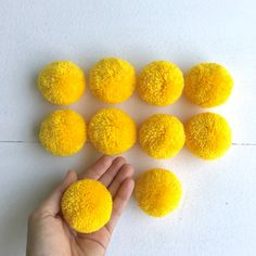 Big Pom Poms 2 inches Set of 10 pieces Light by moonshinecotton