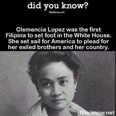 Clemencia was born to a prominent Lopez family in Batangas. Nationalism ran in their blood and her father and brothers supported the Philippine revolution. In 1901, three of the brothers were arrested and banished to Talim island. Clemencia set sail for America to plead for her exiled brothers and ultimately, her country. Accompanied as she was by anti-Imperialist advocate Fiske Warren, her voyage was unusual and unprecedented for her generation. #pinoy #trivia #philippines #history… Retro Pi, Batangas, Filipiniana, Tagalog, The Brethren, Set Sail, Pinoy, History Facts, Trivia