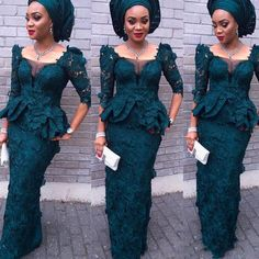 African Lace Evening Dresses 2017 Mermaid Full Sleeves Peplum Formal Dresses Aso Ebi Style Dark Green Nigeria Women Party Dress