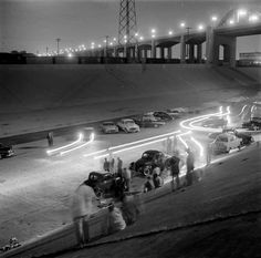 Drag racing in the Los Angeles River 1950s