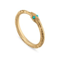 2b770252cb4 Gucci Ouroboros Snake 18ct Yellow Gold And Turquoise Ring Gucci Men
