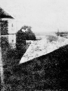 """The First Photograph, 1826 This is the first permanent photograph ever taken. It was shot by Joseph Nicéphore Niépce outside of his window in France in 1826 onto a polished piece of pewter. He titled it """"View From the Window at Le Gras. History Of Photography, Street Photography, Photography 2017, Historical Art, Historical Pictures, Vintage Photographs, Vintage Photos, Strange Places, Daguerreotype"""