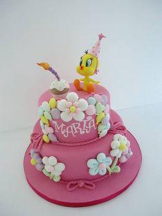 Happy B-day! - Cake by Diletta Contaldo Baby Girl Cakes, Baby Birthday Cakes, Tweety Cake, Fondant Cakes, Cupcake Cakes, Jasmine Cake, Pastel Cakes, Minnie Cake, Kid Cupcakes