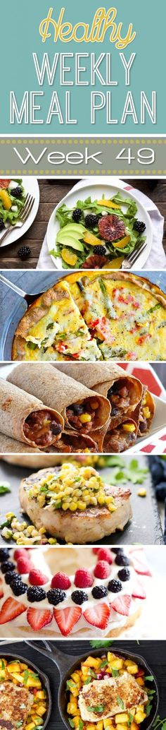 A delicious mix of healthy entrees, snacks and sides make up this Healthy Weekly Meal Plan #49 for an easy week of nutritious meals your family will love! #Healthy #MealPlan #Menu