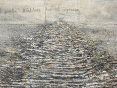 Anselm Kiefer: I saw the home of the clouds, I ate the heart of the fog (für Ingeborg Bachmann) (detail), 1997 -  acrylic, emulsion, sand, clay on canvas