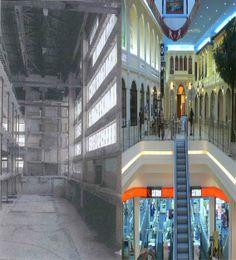 Halle des Volkes nach Teilabbruch (Quelle: Lektüre Klassisch-modern-lebenswert) und Weimar Atrium nach Eröffnung