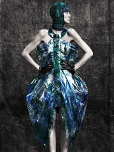 Sculptural Plastic Fashion - printed plastic dress with structured draping & knotting detail; 3D fashion; experimental fashion design // Hira Shah