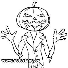 Dessin citrouille Halloween a colorier