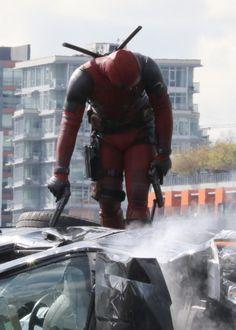Ryan Reynolds on  set as Deadpool