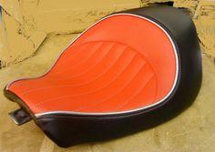 Nice orange Motorcycle Seats, Bike Seat, Car Seats, Automotive Upholstery, Car Upholstery, Custom Motorcycles, Custom Bikes, Bobber Seat, Leather Projects