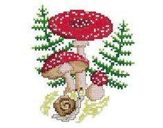"Mushrooms -  PDF Cross Stitch Pattern,  Fabric:18ct  or  14ct Aida, Grid Size:69W x 76H, Design Area:3.39"" x 3.89""  (18ct)  or  4.36"" x 5.00""  (14ct)"