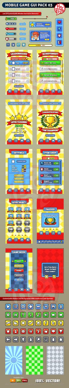 Mobile Game GUI Pack 03 by kemotaku on Envato