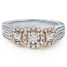 I am in love with this!!!    1 ct. tw. Three-Stone Diamond Anniversary Ring in 14K Gold available at #HelzbergDiamonds