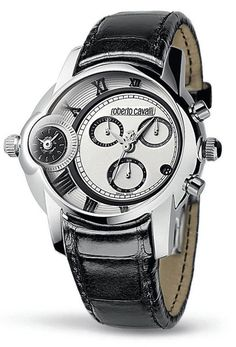 Roberto Cavalli Men's Watch In Collection Caracter, Chrono, Silver Dial and Black Strap | Evosy - Shop Designers' Latest Collections
