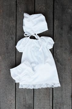 White lace Baptismal Gown 3 piece set bloomers by plainjanesstore, $48.50 www.plainjanesstore.com