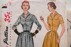 Vintage 1950s Pattern Simplicity 3670 Women's Dress with Yoke Detail sz 16 B 34 by JoysinStitches on Etsy