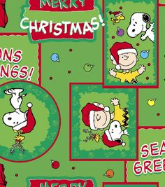 Holiday Inspirations Fabric-Peanuts Greetings Flannel & Holiday Fabric at Joann.com