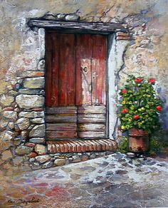 dark wooddoor in stone Watercolor Cards, Watercolor Paintings, Watercolours, Old Doors, Art Graphique, Painted Doors, Pictures To Paint, Painting & Drawing, Wall Drawing