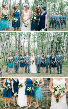 Turquoise Rustic Wedding Details » Michele Hart Photography @Michele Hart Photography + Brit Stewart Weddings @Brit Morin Tucker Stewart    Turquoise and Grey Wedding Party Attire - Bridesmaids and Groomsmen