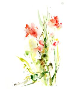 Abstract Flowers Art Print from Watercolor Painting, Pink Green, Abstract Nature, Modern Art, Watercolor Art