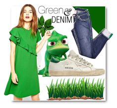 """""""Green & Denim"""" by fashionconnery ❤ liked on Polyvore featuring Golden Goose, women's clothing, women, female, woman, misses and juniors"""