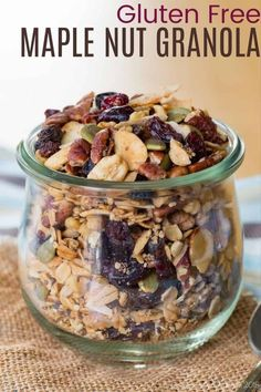 Gluten Free Granola - full of nuts, seeds, dried fruit, coconut, and oats, and sweetened with just a bit of maple syrup, this easy granola recipe is healthy and versatile. You can use any combination of ingredients you have on hand. Plus it is dairy free and vegan. Have it for breakfast on a yogurt parfait or grab a handful for a snack! Nut Granola Recipe, Gluten Free Granola, Dried Blueberries, Dried Fruit, Kale Chip Recipes, Raw Pumpkin Seeds, Yogurt Parfait, Healthy Snacks, Healthy Tips