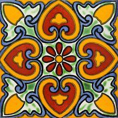 Mexican Talavera Tile For Sale - Hand Painted Mexican Tiles Vitromosaico Ideas, Talavera Pottery, Tuile, Ceramic Painting, Tile Art, Tile Patterns, Oeuvre D'art, Handmade Art, Bunt