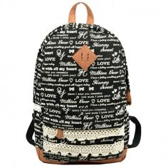 Cute Letters Trunks Lace Canvas Backpack for only $48.90 ,cheap Fashion Backpacks - Fashion Bags online shopping,This Cute Letters Trunks Lace Canvas Backpack have the wonderful design-Mess words and trunks.It is very hot popular in the college.