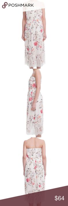 Floral Garden Dress This flowy, strapless floral maxi dress brings the most elegant memory of springtime with it's lace trimmed bottom and shoulder-baring cut.  Lace-trimmed bottom Strapless 100% Polyester, 100% Viscose slip Hand wash cold, line dry.                                                                True to size  Juniors: XS=0-1, S=3-5, M=7-9, L=11-13. Women's: XS=00-0, S=2-4, M=6-8, L=10-12. Lush Dresses Maxi