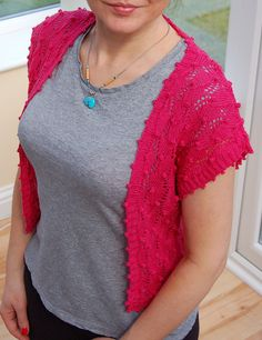 """Free knitting pattern for Bobble Edged Shrug from Debbie Bliss. Lace bolero in sizes 32-34""""36-38""""40-42""""44-46"""" Free with registration at Deramores (affiliate) Pictured project by Bicicletta"""