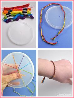 Rainbow friendship bracelet with homemade weaving wheel