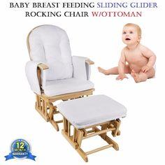 Baby Breast Feeding Sliding Glider Rocking Chair w/Ottoman 7 Recliner Positions