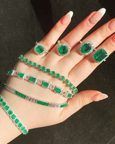 """Diana M. Jewels on Instagram: """"Emerald Beauties 💚💚💚 Gorgeous bracelets and Rings 💎💎💍…"""" Leaf Ring, Turquoise Bracelet, Diana, Emerald, Beaded Bracelets, Gems, Jewels, Rings, Beauty"""