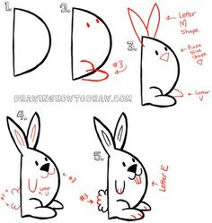 Now Lets Draw a Bunny Rabbit from a Capital Letter D Shape
