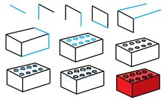 how to draw a lego brick