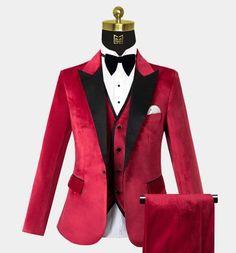 Red Tuxedo, Tuxedo Suit, Tuxedo For Men, Tuxedo Jacket, Groom Tuxedo, Red Velvet Suit, Red Suit, Suit And Tie, Prom Outfits For Guys