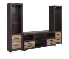 """Style:Contemporary Color:Warm Gray Weight (lb):301.00 Dimensions: Tall Pier - 20.12""""W x 12.60""""D x 72.17""""H Large TV Stand - 63.00""""W x 19.00""""D x 26.00""""H Items"""