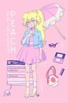 All accessories, except mushroom bag! Super Peach World Super Mario Brothers, Super Mario Smash Bros, Super Mario Art, Super Peach, Princess Peach Cosplay, Nintendo Game, Mario Fan Art, Kawaii 365, Nintendo Princess