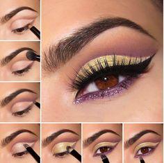 Maquillaje para ojos de color amarillo con morado y negro