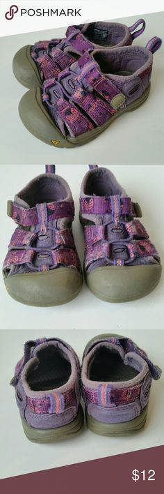 Keen Baby Ladybug Sport Sandals The shoes were obviously well loved and have somewhere but are structurally sound and still have lots of life left!  They are purple with ladybug detail, velcro closure with tightening strap and rugged rubber soles. They are waterproof and washable. Keen Shoes