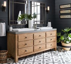 ADORE THIS! We love the juxaposition of the dark walls, patterned floors and the weathered wood of our Mason Double Sink Console. Pottery Barn Bathroom, Bathroom Wall Decor, Bathroom Styling, Bathroom Furniture, Bathroom Ideas, Double Sink Vanity, Vanity Sink, Vanity Bathroom, Bathroom Renos