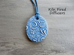 Navy Blue Essential Oil Diffuser Necklace by KilnFiredDiffusers