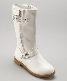 Look at this Lucky Top White Quilted Buckle Boot on #zulily today!