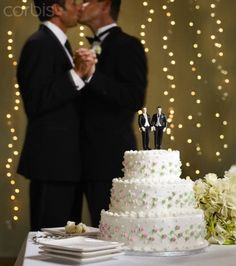 gay wedding lights and cake.