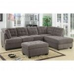 Waffle Suede Charcoal 2 Pieces Sectional Sofa with Reversible Chaise