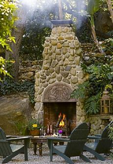 FRENCH COUNTRY COTTAGE: Outdoor Cottage Fireplace - cement block ...