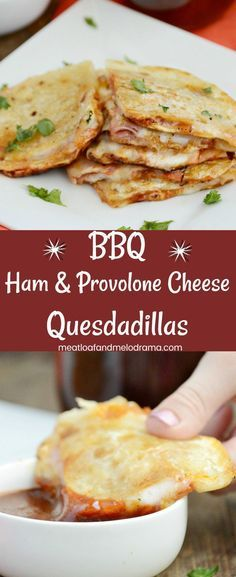 BBQ Ham and Provolone Cheese Quesadillas - A quick and easy lunch dinner or snack made with deli ham provolone cheese and barbecue sauce. Takes 5 minutes to make and kids love it! Care Skin Condition and Treatment Oil Makeup # Ham Recipes, Cheese Recipes, Mexican Food Recipes, Cooking Recipes, Recipes With Deli Ham, Health Recipes, Easy Dinner Recipes, Appetizer Recipes, Easy Meals
