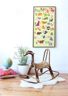 For the modern playroom: a rattan rocking horse. #vintage #etsykids