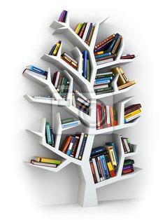 Wall mural tree of knowledge. bookshelf on white . - tree • PIXERSIZE.com